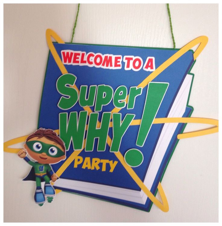 Super Why Door Sign, Super Why Party Door Sign, by TriniGirlTreats on Etsy https://www.etsy.com/listing/198923588/super-why-door-sign-super-why-party-door