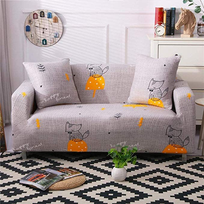 Stretch Sofa Slipcover Fitted Furniture Protector Print Sofa Cover Stylish Couch Cover With 2 Pillow Case Cushions On Sofa Couch Covers Slipcovers Printed Sofa