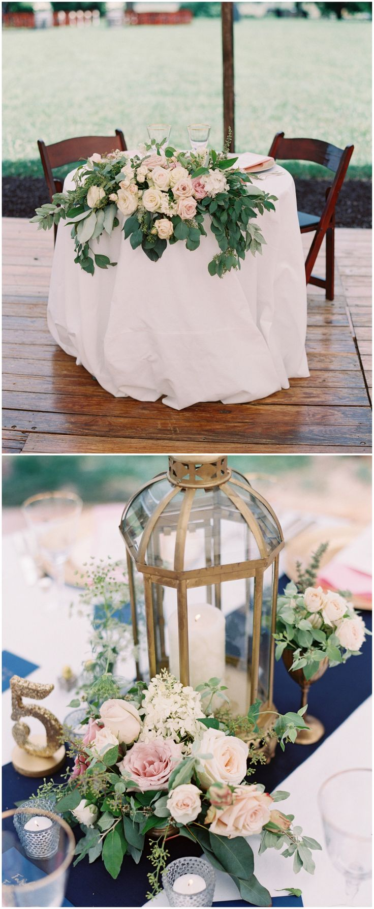 Romantic outdoor reception, cream and pink roses, shabby chic gold lanterns as centerpieces, navy blue linens // Adam Barnes Fine Art Photography
