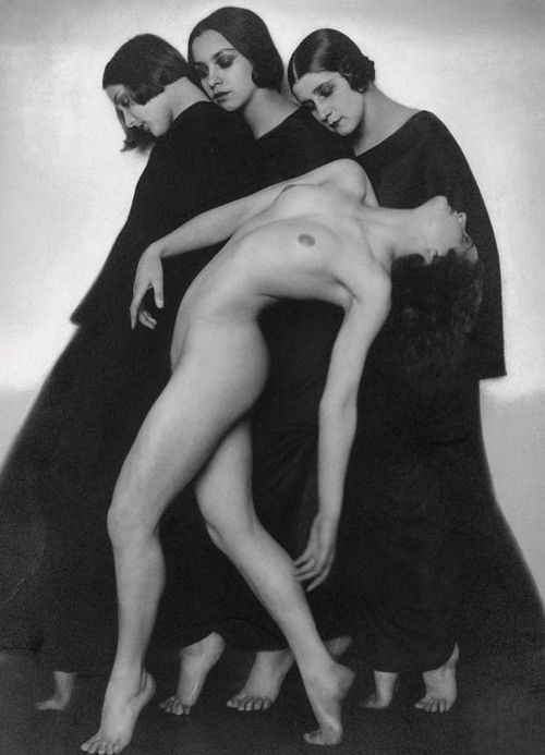 Bewegungsstudie, 1925 ~ Rudolf Koppitz Bewegungsstudie's languid nude, elaborately robed women and undeniable sensuality, in the context of its rigorous and artistic composition, bring to mind the sexual morbidity of Viennese artists like Gustav Klimt and Alphonse Mucha, as well as the Swiss symbolist painter Ferdinand Hodler and has made it as unforgettable then as it is today. It has become the Koppitz's signature image, and was also his best-seller.
