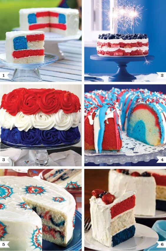 Wonderful 4th of July cakes.  Wrap up a slice of the flag cake and give each guest a piece to take home as a favor.