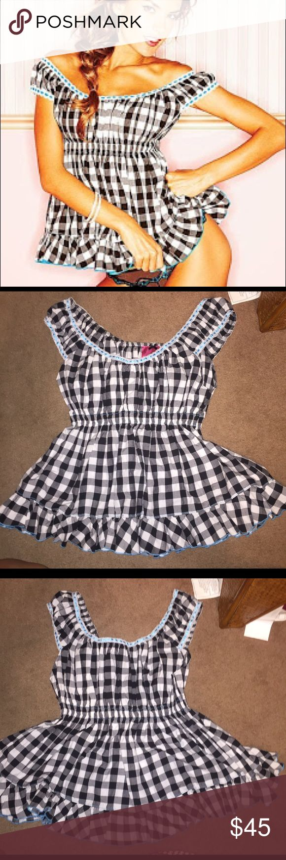 Victoria's Secret Gingham Off-the-Shoulder Top Victoria's Secret Gingham Off-the-Shoulder Top From 'Sexy Little Things' Collection Gingham Babydoll Cut Can be worn normal babydoll style, or off shoulder  Color: Checkered Plaid Gingham Size: M/L   Used for photoshoot  Pinup burlesque Victoria's Secret Intimates & Sleepwear