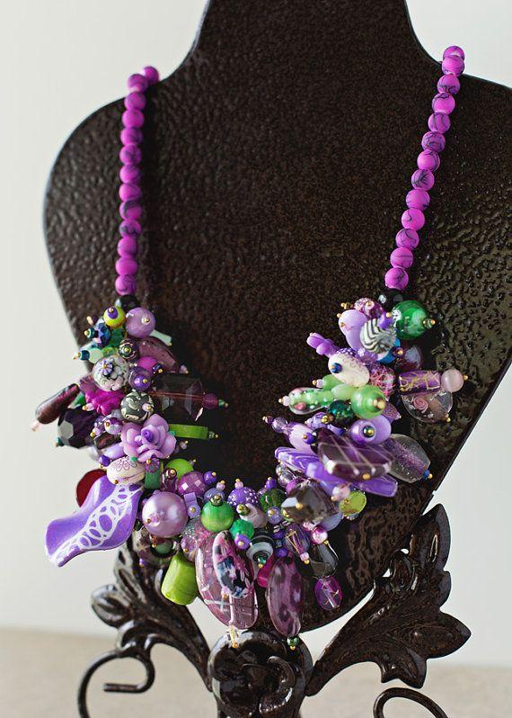 Purple & Green London Frenzy Necklace by JeniandPatsBeadHive