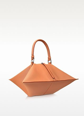 Jil Sander | 4Angle Small Open Orange Leather Satchel Bag at FORZIERI