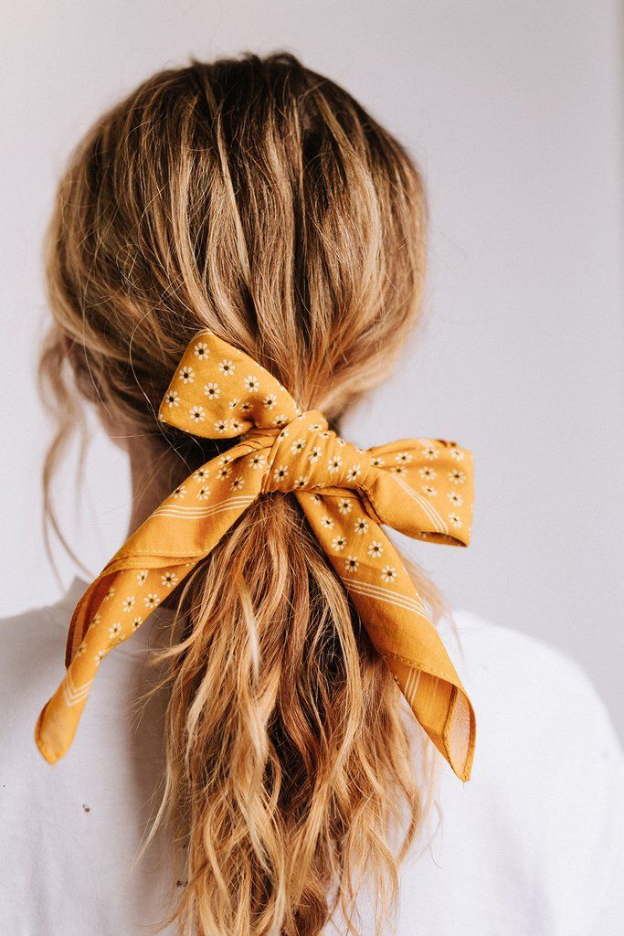 Details Mustard Color Bandana Daisy Print 100 Cotton Hair Styles Scarf Hairstyles Long Hair Styles