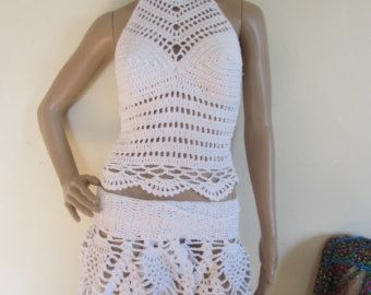 Haak tank halster top gehaakte tank top naturel door Elegantcrochets