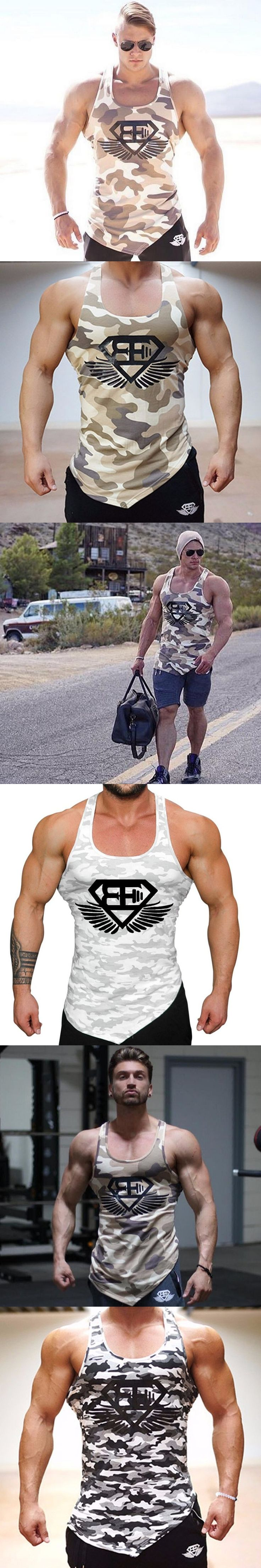 Men fitness bodybuilding Tank tops gyms workout Sleeveless shirt male Camouflage vest Casual golds Singlet sportswear Undershirt