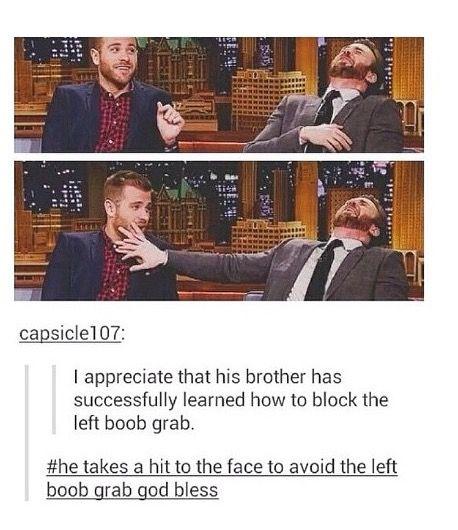 Scott has learned to block the Chris Evans left boob grab!