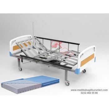 2 Motorlu Elektrikli Hasta Karyolası (ABS Başlık - Ergonomik Korkuluk)