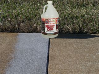 Rust driveways and lawn sprinklers on pinterest for Clean rust off concrete patio