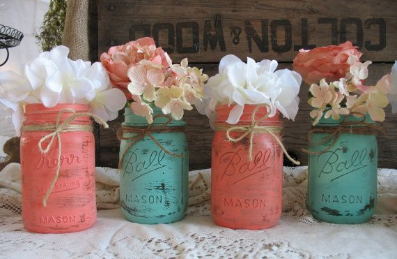 Items similar to Mason Jars, Ball jars, Painted Mason Jars, Flower Vases, Rustic Wedding Centerpieces, turquoise and coral mason jars on Etsy