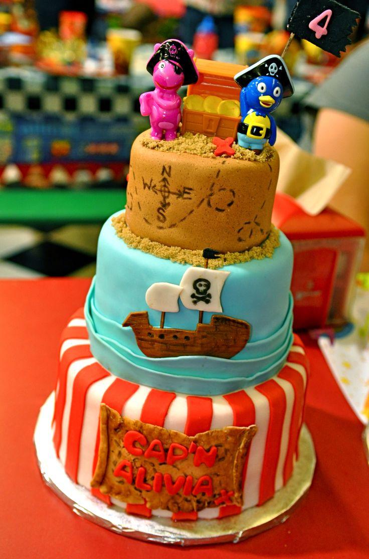 Cake ideas on pinterest pirate cakes marshmallow fondant and - The Backyardigans Pirate Cake Pablo Uniqua Pirate Cake
