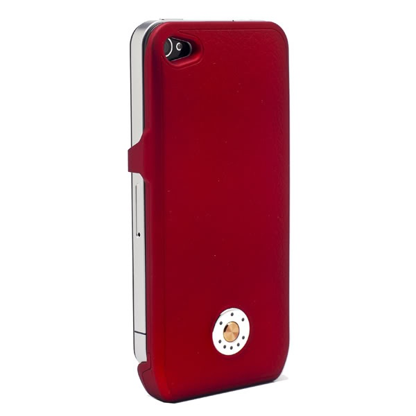 New 1700mAh Slim External Backup Battery Charger Leather Case for iPhone 4 4S 4G RedLeather Case