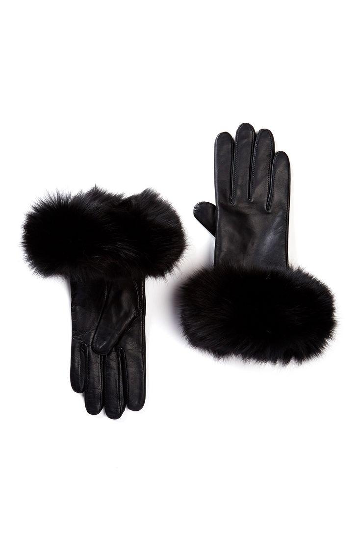 Black gloves with leopard trim - Genuine Fox Fur Trim Napa Leather Gloves By Mitchies On Nordstrom_rack