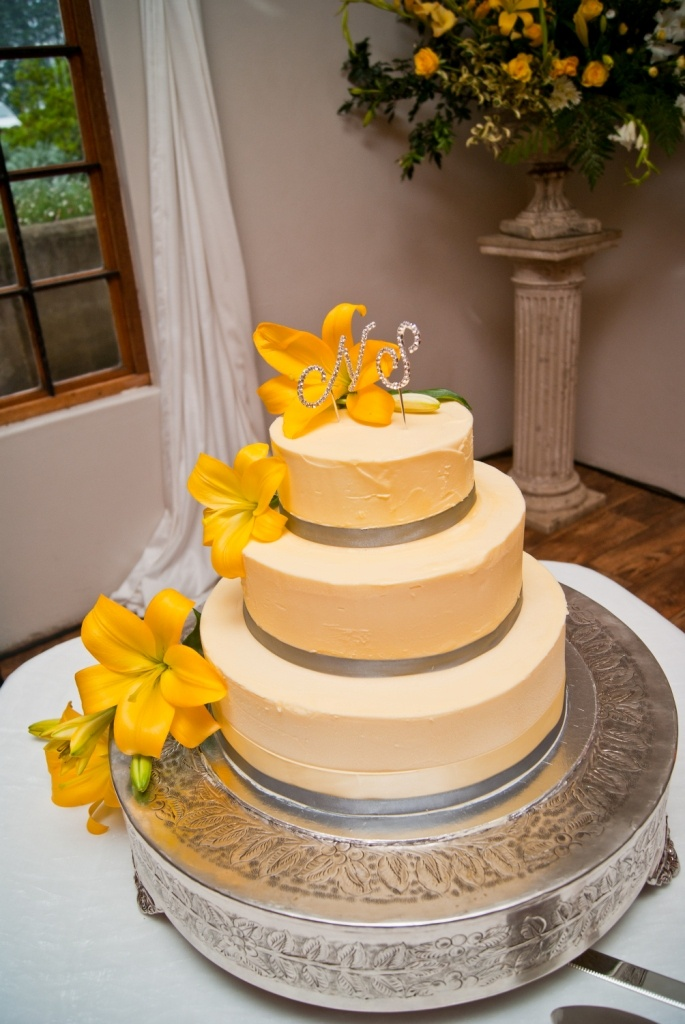 Our yellow wedding cake - carrot cake with a cream cheese icing...to die for!