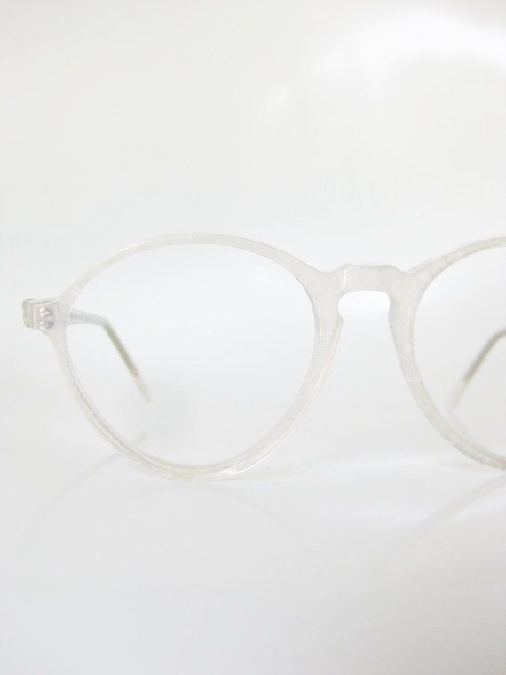 Vintage Icy White Round Eyeglasses Jean Lafont France Paris Snow White Frosty Sparkle Metallic Hipster Indie 1960s 60s Sixties Womens Girls