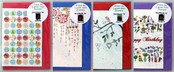 Seeded paper greeting cards