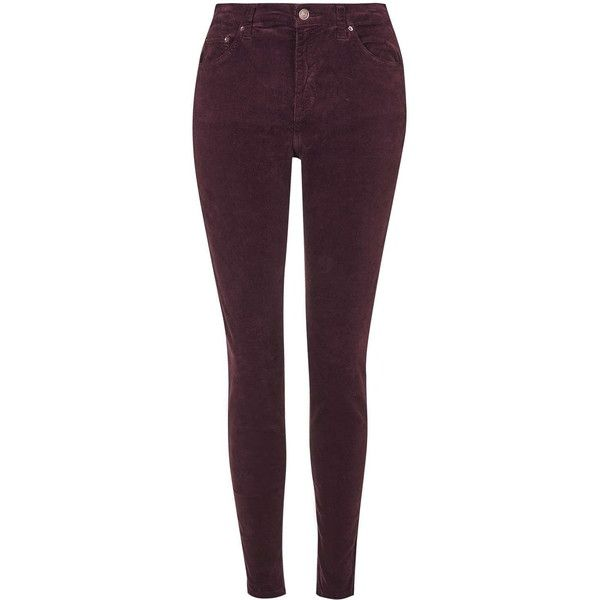 TOPSHOP MOTO Burgundy Cord Jamie Jeans ($64) ❤ liked on Polyvore featuring jeans, pants, bottoms, calça, burgundy, high waisted skinny jeans, purple skinny jeans, high-waisted jeans, skinny jeans and burgundy jeans