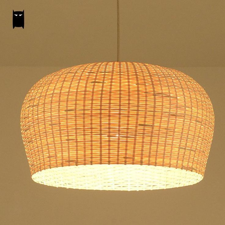 Bamboo Wicker Rattan Shade Pendant Light Fixture Asian Rustic Chandelier Ceiling #Soleilchat #Asian