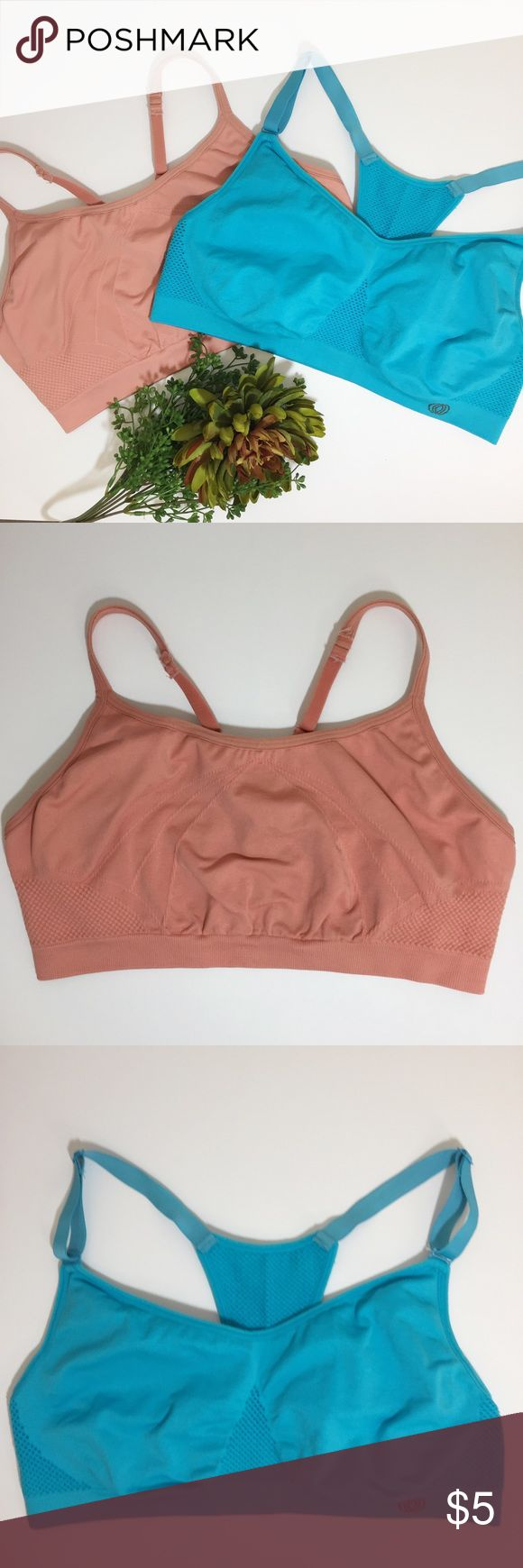 Atheletic Sports Bras-2 2 Athletic Sports Bras. Size: Large. Both are in great condition. Colors are blue & salmon.  (Pinkish nude) Intimates & Sleepwear Bras