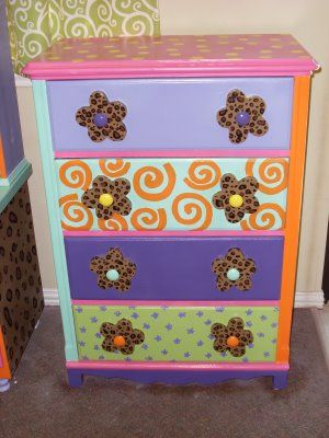 #painted- would love my daughters dresser to look like this!