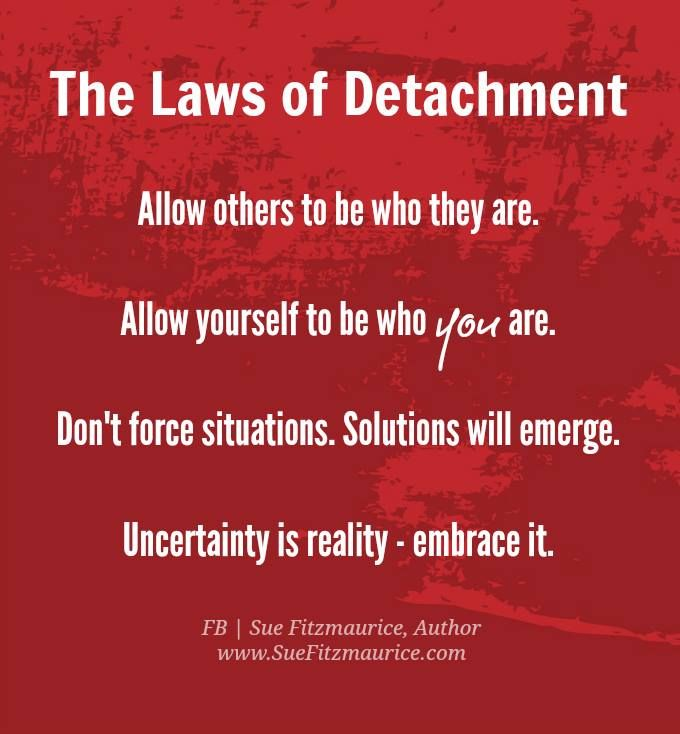 The laws of Detachment : allow others to be who they are, allow yourself to be who you are, don't force situations, solutions will emerge, uncertainty is reality-embrace it.