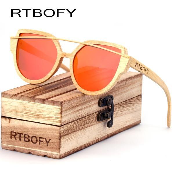 #FASHION #NEW RTBOFY Cat Eyes Wood Sunglasses Polarized Women 2017 News Brand Designer Wood Sun Glasses For Women HD Lens UV400 Sunglasses