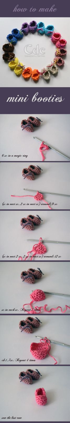 How to make mini booties : crochet pattern | Creazioni del Centro