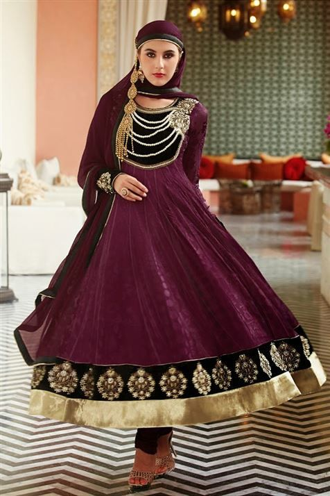 Brasso Purple, Balck Designer Long  Salwar Suit
