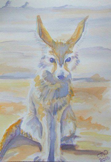 #WorldWatercolorGroup - Watercolor by Chloe Jayne Waterfield - Fennec Fox - #doodlewash