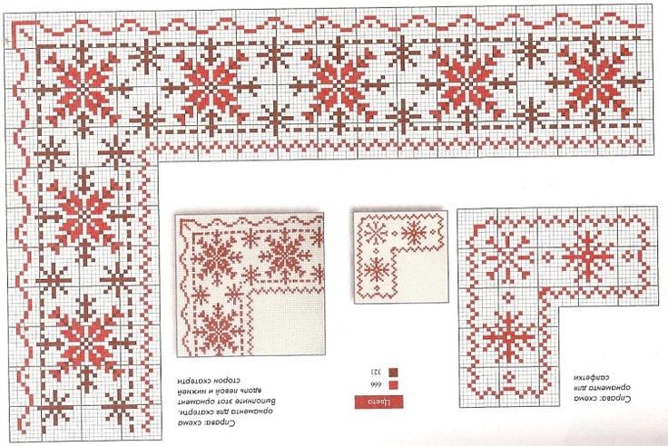 Red flower/snowflake border & variations.  Gallery.ru / Фото #26 - из какой-то книги - livadika