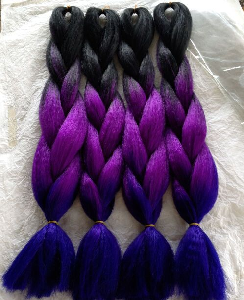"""5pcs 24"""" Ombre Purple 3 Toned Box Braids Hair Synthetic Yaki Straight Braids in Clothing, Shoes & Accessories, Women's Accessories, Wigs, Extensions & Supplies 