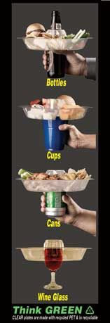 The Go Plate. Party plate carried on your drink so you have a free hand to snack or lift plate to take a sip!