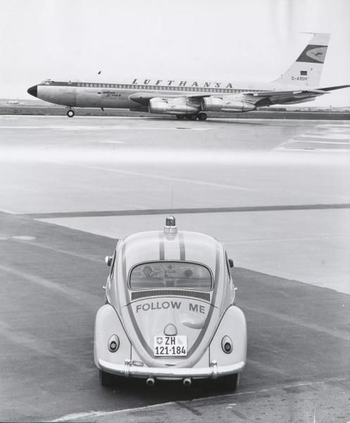 GGK, advertising shooting on the airfield, 1960s. Lufthansa AG, Frankfurt. Photo Alexander von Steiger. Via eMuseum