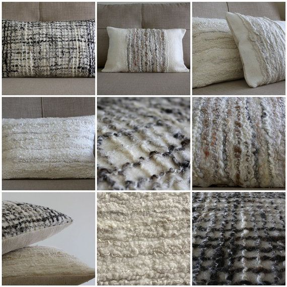 Textured Felted Wool Cushion, Off White Natural Fibre Decorative Pillow. via Etsy.