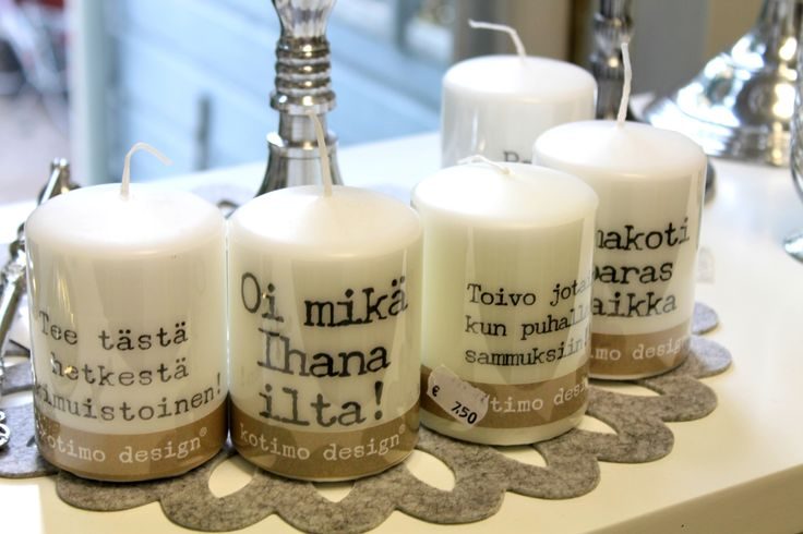 The traditional shop Kynttiläkamari on Jokikatu sells beautiful candles and interior design. Decorate your home and light up the upcoming dusky evenings for example with these new in- candles with a greeting! www.visitporvoo.fi