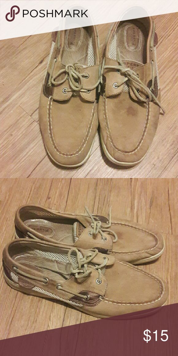 Used Sperrys Good condition could use a good clean up one small spot on top of one of the shoes as shown in the pic. Sperry Shoes Flats & Loafers