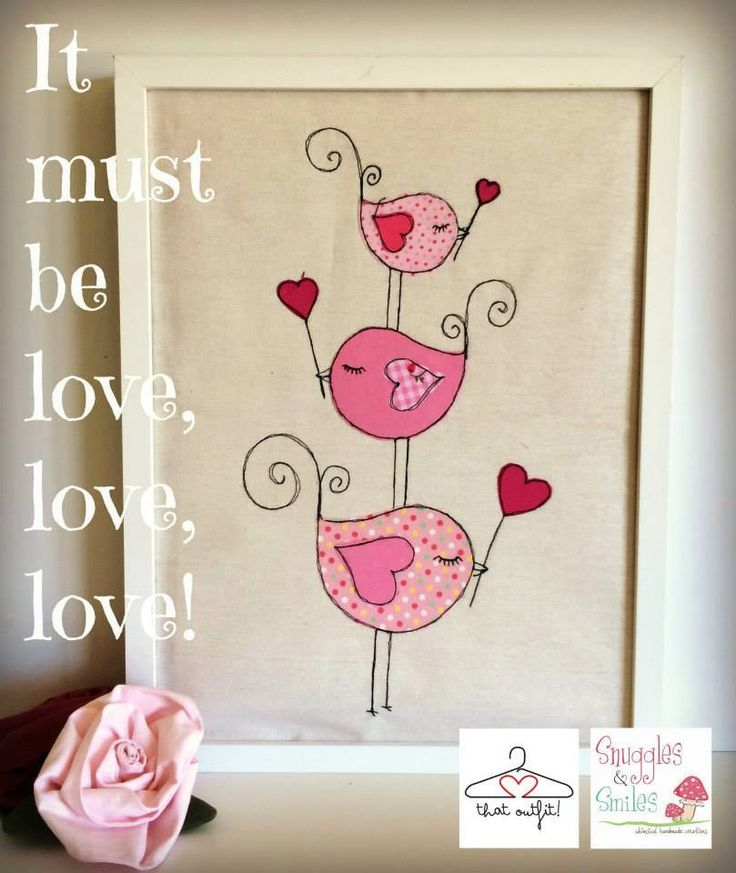 Stacked love birds freemotion embroidery wall art
