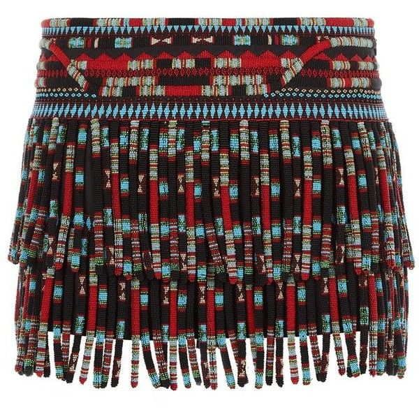 See this and similar Valentino mini skirts - Valentino opts for all-out embellishement on this chic mini skirt. The woven silk design features colourful, beaded...