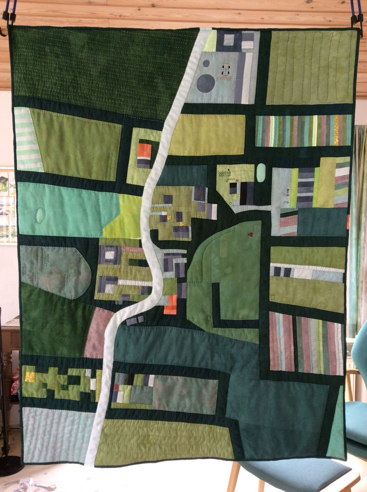 Quilt inspired by Google Earth. Magtenbølle, where my friends live