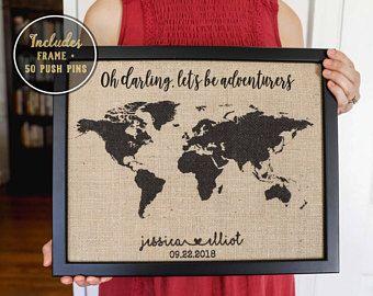 Personalized Anniversary Pushpin World Map.Push Pin Map 2 Year Anniversary Gift For Boyfriend Valentine S Day
