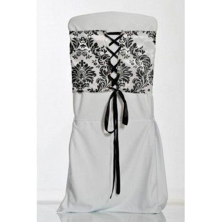 Ceinture de chaise corset baroque noir et blanc