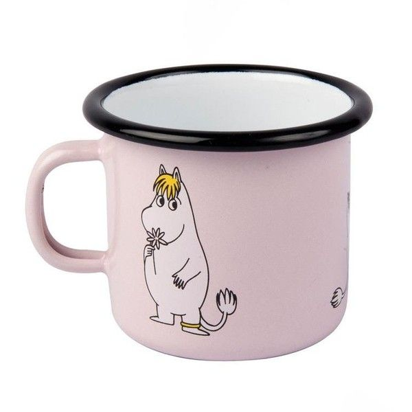 Snorkmaiden mug 2,5 dl pink The Official Moomin Shop (€11) ❤ liked on Polyvore featuring home, kitchen & dining, drinkware, pink mug and enamel mug