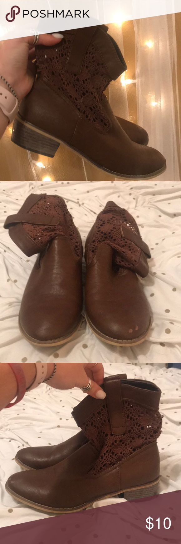 Brown mini boots Only a little scuff on right toe Aeropostale Shoes Ankle Boots & Booties