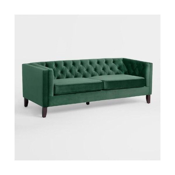 Forest Green Kendall Sofa World Market ($750) ❤ liked on Polyvore featuring home, furniture, sofas, plush sofa, dark green sofa, mid century sofa, forest green sofa and dark green couch