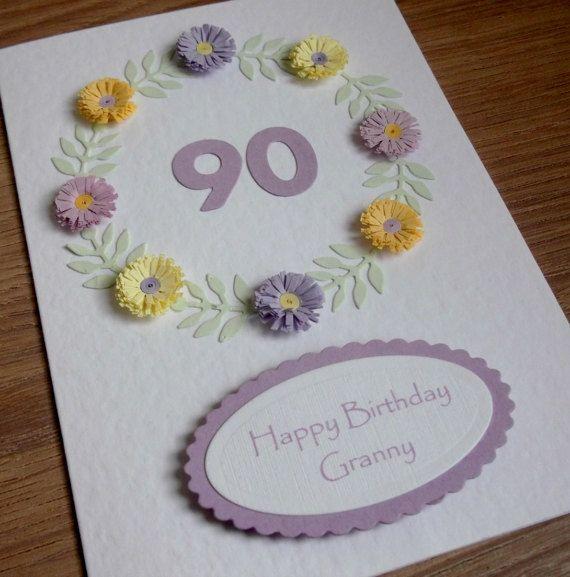 Handmade 90th Card Granny Birthday Personalised Can Be For Etsy 90th Birthday Cards Handmade Birthday Cards 80th Birthday Cards