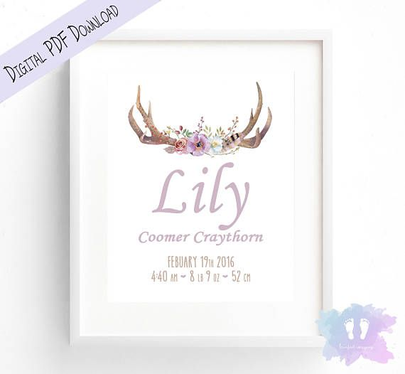 Boho Flower Antler Birth Announcement Wall Art  Birth Details
