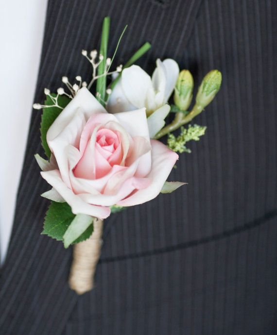 Wedding Flowers Corsage Ideas: Men's Wedding Pink Boutonniere By VVDesignsShop On Etsy