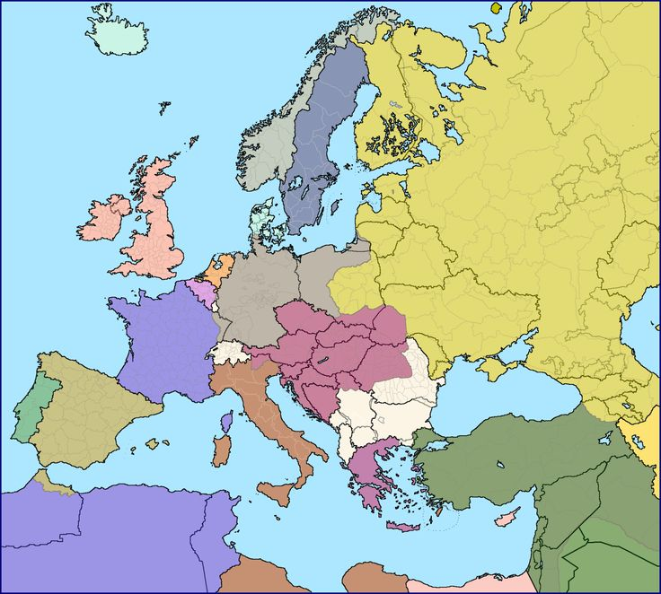Modern European borders superimposed over Europe in 1914 immediately before World War 1