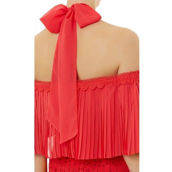 Temperley London Berry Lace Cocktail Dress (3.230 DKK) ❤ liked on Polyvore featuring dresses, coral, midi, off the shoulder cocktail dress, red lace cocktail dress, midi dresses, lace cocktail dresses and off the shoulder lace dress